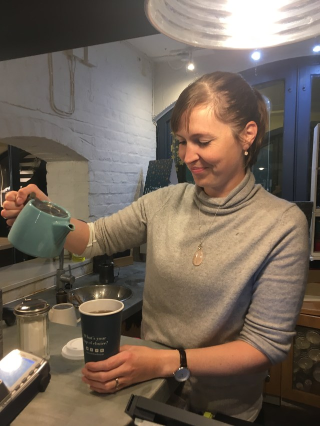Marie-Laure prepares a tea to go in Whittard of Chelsea Covent Garden Store