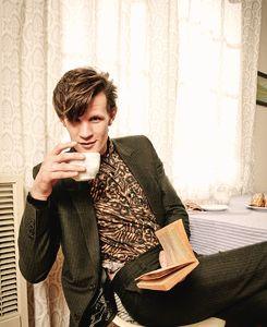 Matt Smith drinks tea sexy