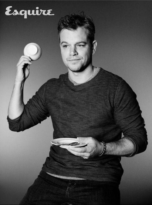 Matt Damon drinks tea