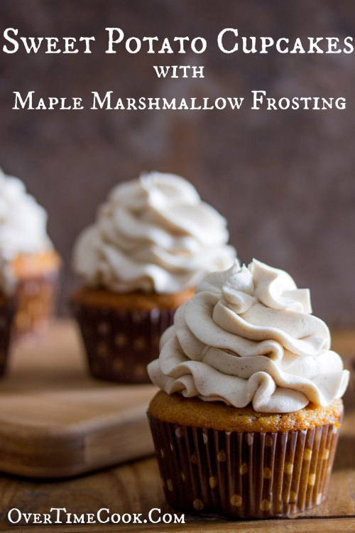 sweet potato cupcakes with maple marshmallow frosting on OvertimeCook
