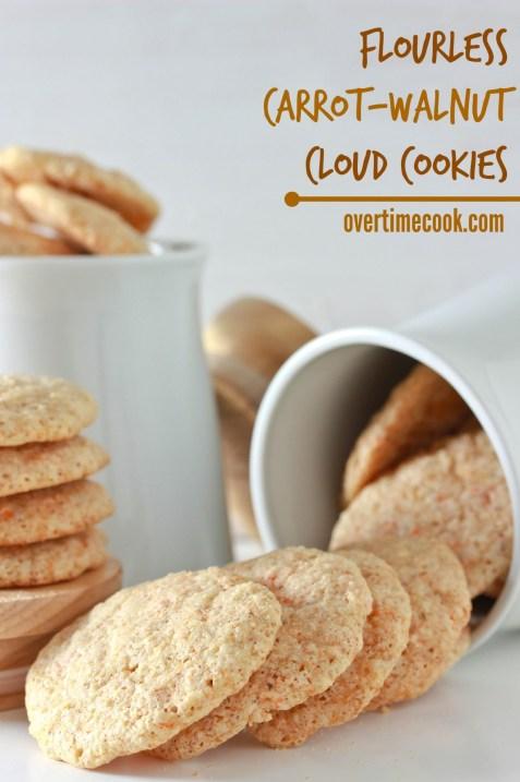 flourless carrot walnut cloud cookies