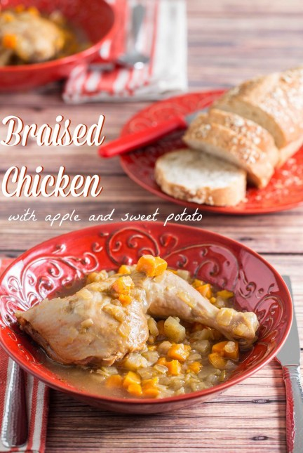 braised chicken with apple on OvertimeCook.com