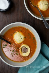Meatball Stuffed Matzo Balls in Creamy Tomato Soup