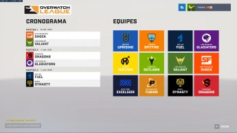 Interface da Overwatch League no jogo