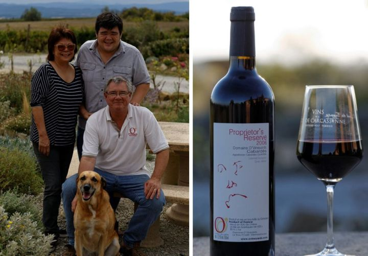 Liz, Ryan, Joe and Muse (woof!) and our flagship wine, Proprietor's Reserve.