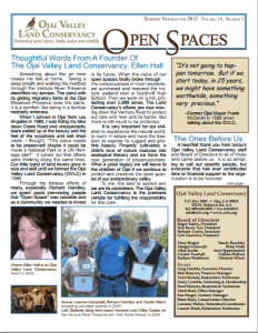 Open Spaces Newsletter – Summer 2012 (PDF)