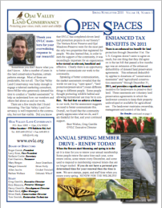 Open Spaces Newsletter - Spring 2011 (PDF)
