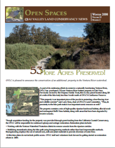 Open Spaces Newsletter – Winter 2008 (PDF)