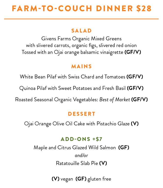 Farm to Couch dinner menu