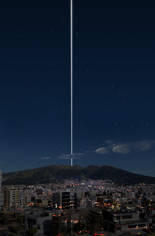 "From the equator, the rings would pass directly overhead and show up as a thin, bright line in the sky, ""arching from horizon to horizon."" Here's what a photograph of Quito, Ecuador would look like at night:"