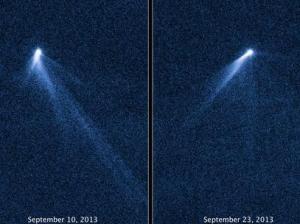 Imagem do Hubble mostra o asteroide P/2013 P5, que surpreendeu cientistas por ter caudas, como um cometa. Foto: AFP
