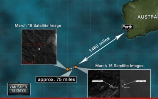 Área de procura pelos destroços do Voo 370 da Malaysia Airlines.