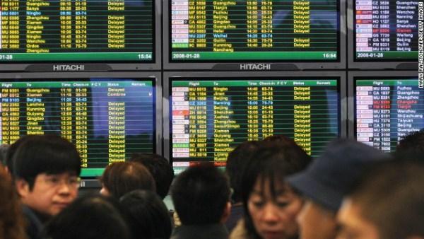 Aeroporto de Xangai tem seus voos interrompidos.
