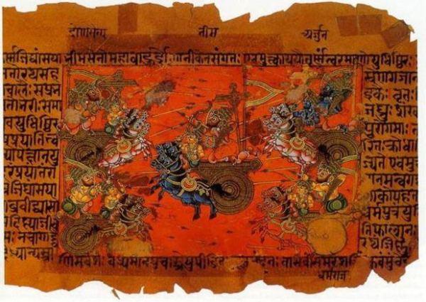 Uma ilustração do manuscrito do Batalha Celeste de Kurukshetra, guerreada entre os Kauravas e os Pandavas, registrada no épico Mahabharata