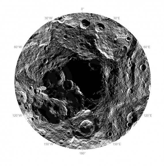 Polo Sul de Ceres. Crédito: NASA