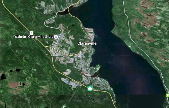 Mapa aéreo de Clarenville. Crédito: Google