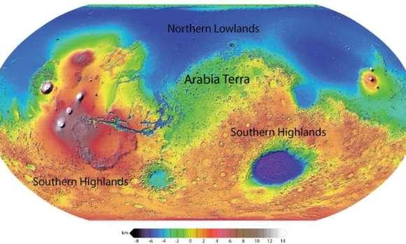 Os leitos de rios foram encontrados na região de Arabia Terra de Marte.