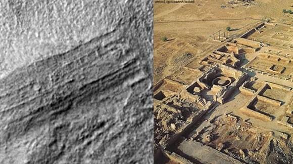 Uma comparação das estruturas em Marte (esquerda) e um sítio arqueológico na Terra (direita).