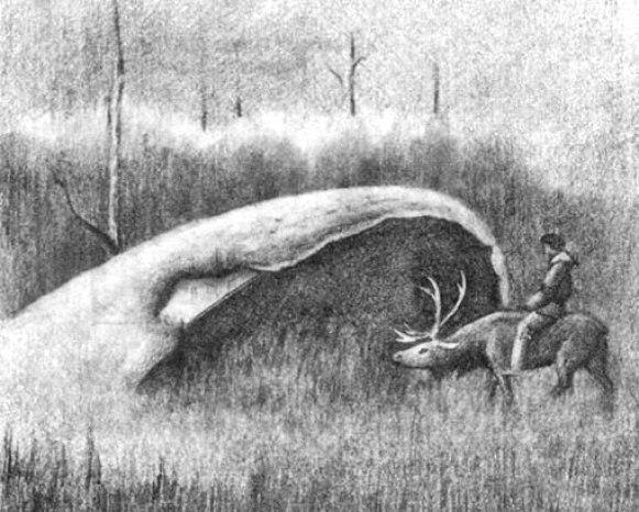 Desenho de um morador local, montando uma rena e inspecionando um caldeirão.