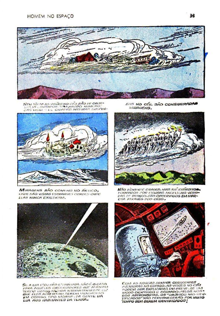 O leitor Antônio Aires enviou ao OVNI Hoje as seguintes reproduções de um gibi da década de 1960, ilustrando e descrevendo os diferentes tipos de OVNIs e aparições celestes que eram relatados então.