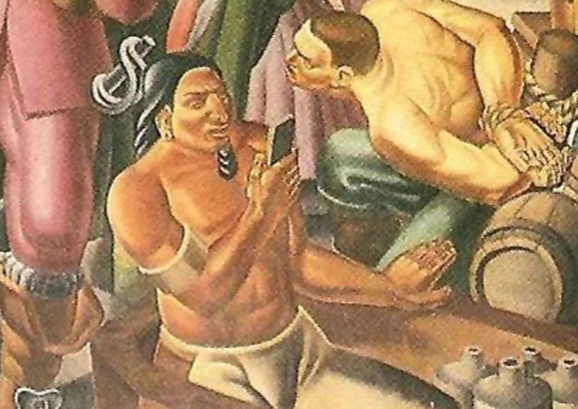 Evidência de viagem no tempo? Nativo americano segura 'smartphone' em pintura retratando o Século XVII 1