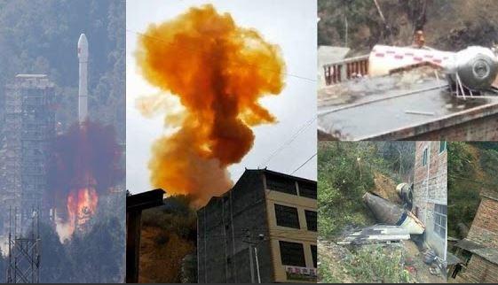 Estágio de foguete cai em cima de prédio na China