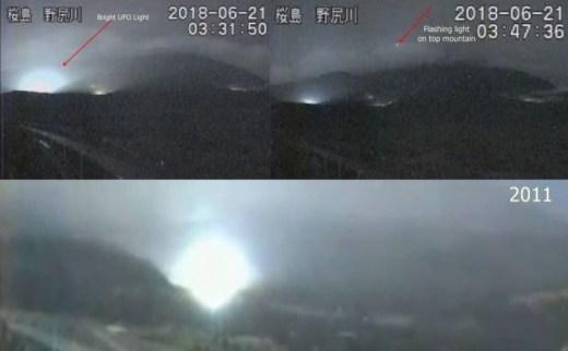 Luzes misteriosas são filmadas no Monte Sakurajima