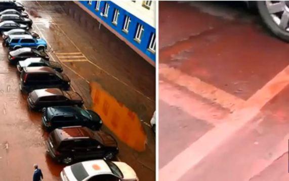Chuva vermelha cai em cidade da Sibéria