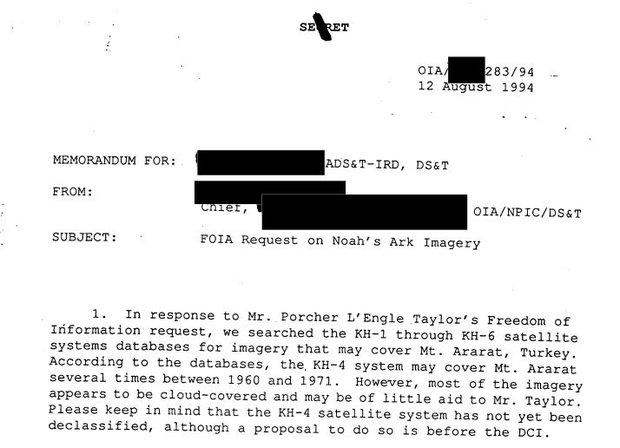 CIA usou satélites espiões para estudar localização da Arca de Noé 2