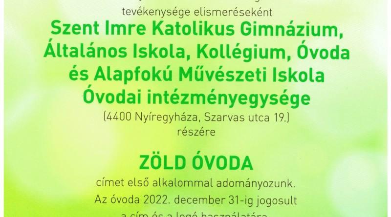 Zöld Óvoda cím