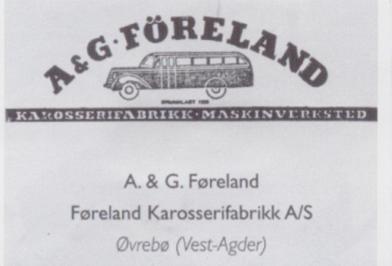 Logoen til Anders og Gunvald Førelands karosseriverksted på Skarpengland