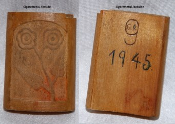 Sigarettetui laget av fanger på Grini under 2. verdenskrig, og som Lars Upsahl hadde med seg hjem etter at han ble fri.