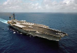 The USS America (CV66) aircraft carrier made a five-day port visit to Mombasa (it steamed from Masirah Island) in mid-April, 1983. Image Source: Wikipedia