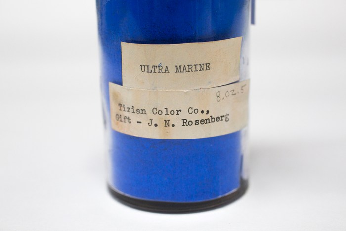 A specimen labeled Ultra Marine is pictured from the pigment collection of the Straus Center for Conservation and Technical Studies housed inside the Harvard Art Museums at Harvard University. Stephanie Mitchell/Harvard Staff Photographer