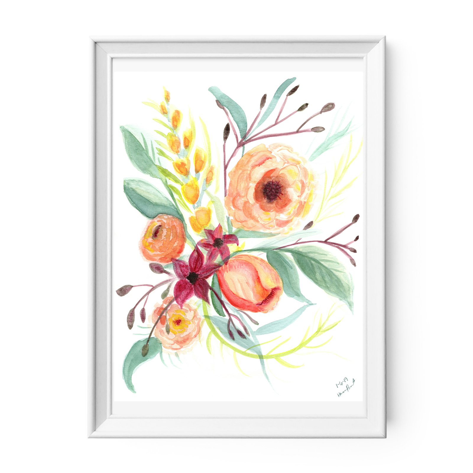 Watercolor Flowers Print