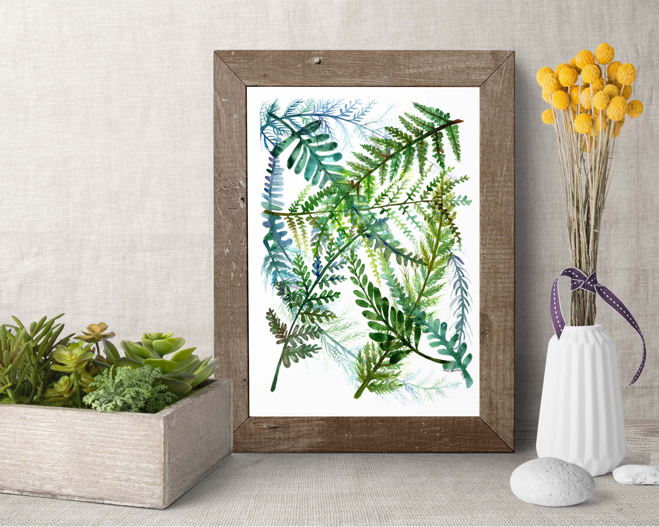 Watercolor Fern Print wood frame