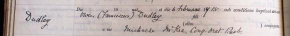 Owen Francis Dudley becomes Catholic.