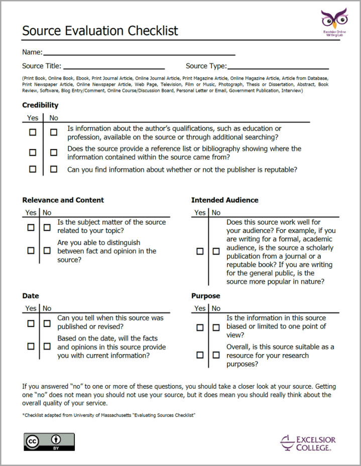A picture of the Evaluation checklist