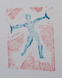 blue and red dancer
