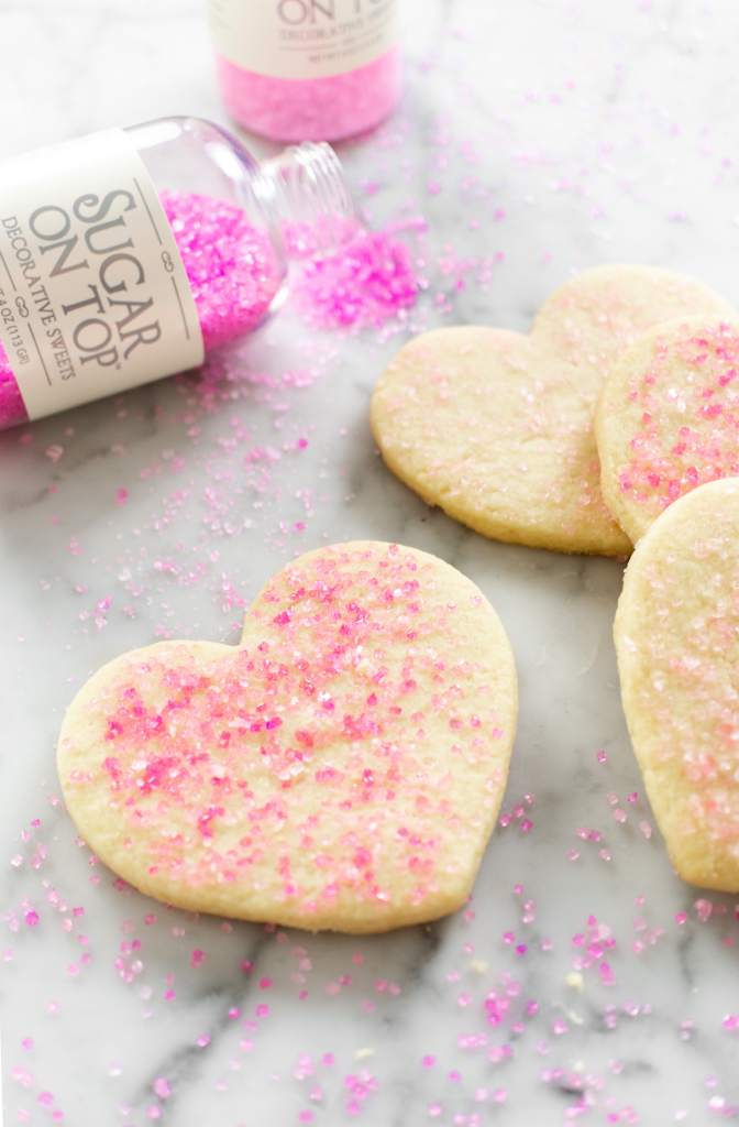 No Chill Sugar Cookie Cut Outs- heart cookies with sprinkles
