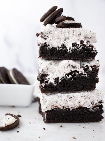 Oreo Brownies, Cookies and Cream Brownies stacked