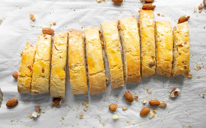 Almond Biscotti sliced in a row