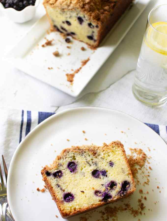 Slice of Blueberry Bread on plate