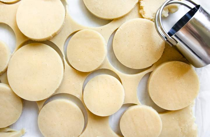French Butter Cookies - cutting the dough