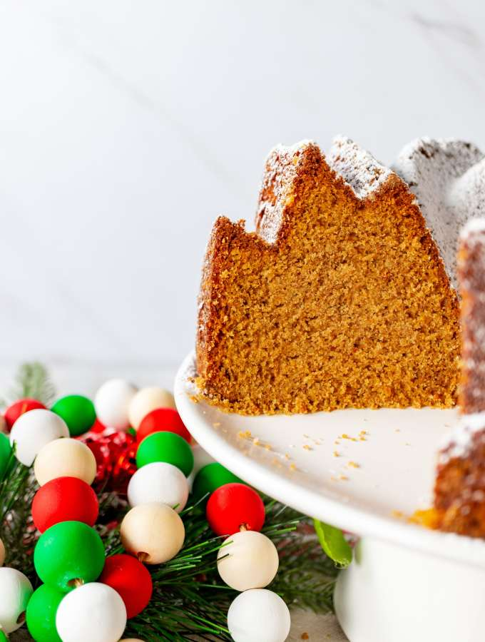 Gingerbread Bundt Cake - inside shot with beads 2