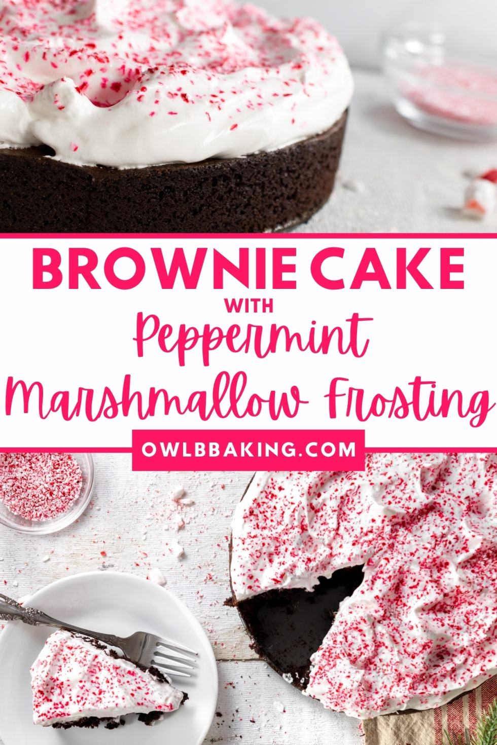 Brownie Cake with Peppermint Marshmallow Frosting