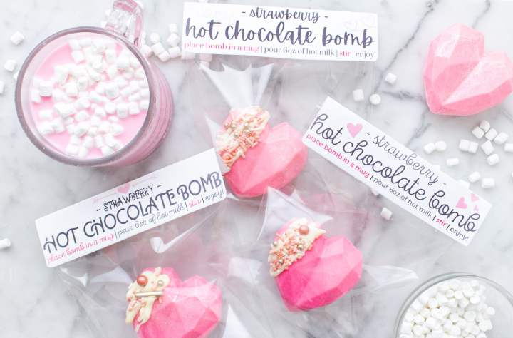 valentines day hot chocolate bombs packaged for gifting