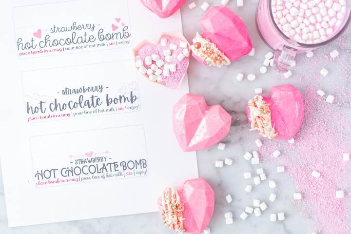 valentines day hot chocolate bombs with gifting labels