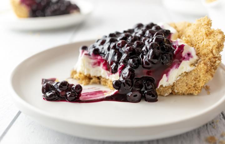 Blueberry Cream Cheese Pie_slice of pie bite shot