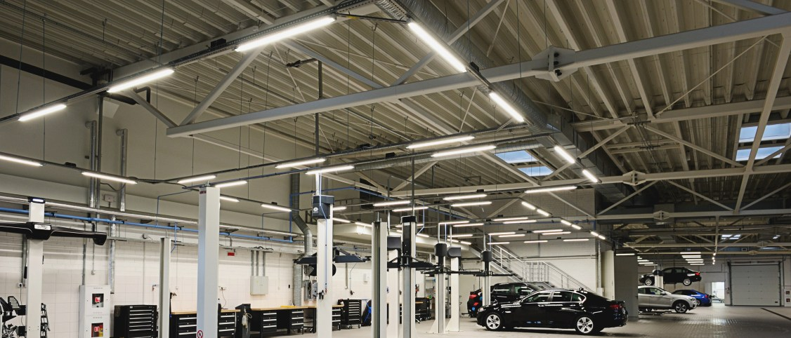 LED lighting in a modern garage